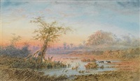venezuelan landscape with deer by anton goering