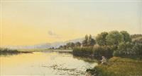 der angler am see by edwin henry boddington