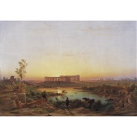 view of paestum by johann-rudolph buhlmann