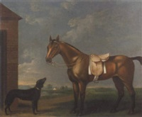 bay gelding with dog by w. williamson