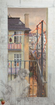 self portrait in front of a neighbouring house by gretel haas-gerber