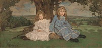 two sisters sitting under a tree, an extensive landscape beyond by william dacres adams