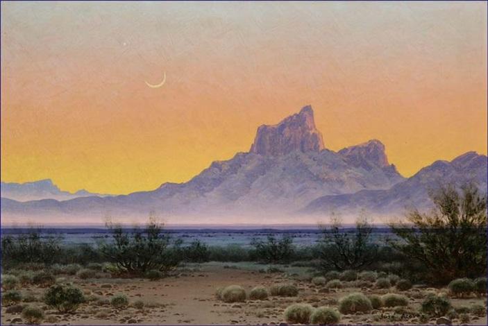 desert nocturne landscape crescent moon by josé aceves
