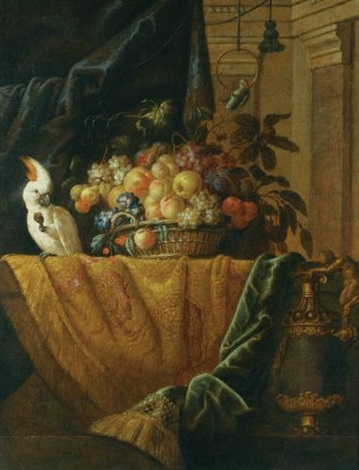 a still life with a basket of fruit and a parakeet upon a ledge draped with a damask beside an ormolu mounted porphyry vase by jan pauwel gillemans the younger