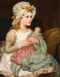 a young girl with her doll by kate perugini