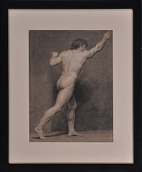 male nude (study) (+ another; pair) by francois-louis gounod