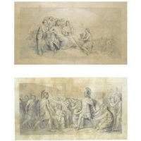 a lunette with the marriage of jupiter and juno, study (+ 2 other studies; 3 works) by andrea appiani