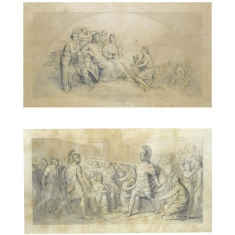 a lunette with the marriage of jupiter and juno study 2 other studies 3 works by andrea appiani