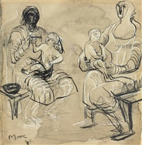 madonna and child studies by henry moore