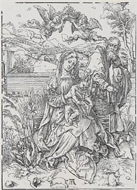 the holy family with three hares by albrecht dürer