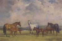 mares and foals before a house by marjorie may macbeth-raeburn