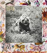 lion charge at ndutu triangle, s. serengeti by peter beard