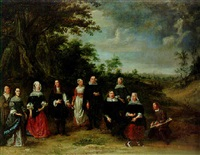group portrait of a family in an extensive wooded landscape, brussels beyond by f.v. vogelsanck