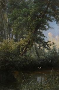 paesaggio boschivo con laghetto by federico ashton