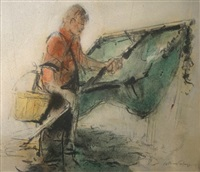 untitled (young shrimper with net) by william selwyn