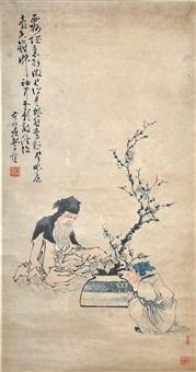 林和靖賞梅圖 huang shen qing dynasty a hermit by huang shen