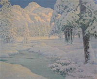 neige suisse - pontresina by georges victor laurent dantu