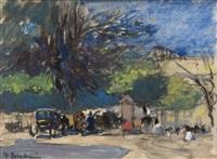 wachtend rijtuig op plein by floris arntzenius