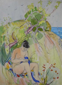 nu au drap bleu, bord de mer by maurice leonard