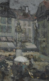 street scene, france by richard edward miller
