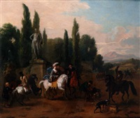 an elegant hunting party in a park landscape by dirk maes