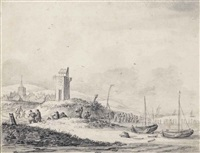 a beach scene with fisherfolk by a beacon and a village beyond, probably katwijk aan zee by thomas heeremans