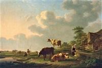 weideidylle mit kühen, pferd und kleinen anglern by gillis smak gregoor