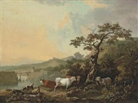 a river landscape with livestock, a wagon on a track beyond by philipp reinagle