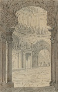 vue intérieure de l'église des invalides (collab. w/ pierre françois léonard fontaine) by charles percier