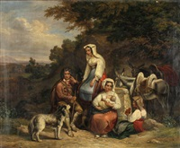 campania-landschaft mit rastender bauersfamilie by ludwig vogel