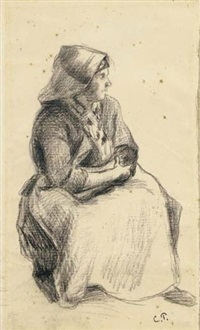 paysanne assise by camille pissarro