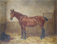 bay hunter in a stable by c. wallis gabriel
