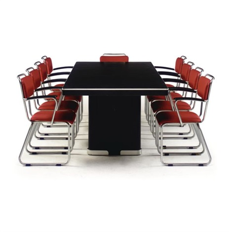 conference table (+ 9 chairs; set of 10) by w.h. gispen  sc 1 st  Artnet & Conference table 9 chairs set of 10 by W.H. Gispen on artnet