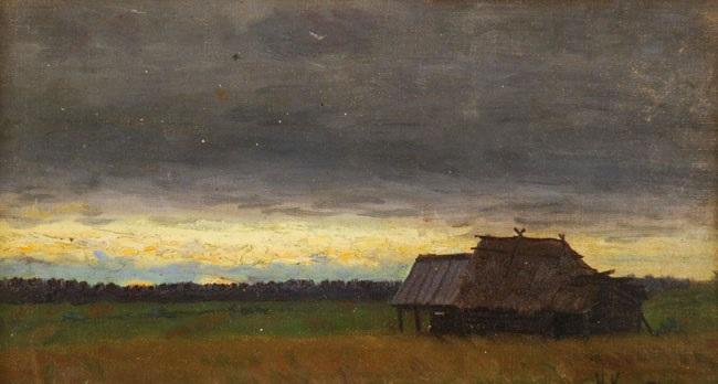 house in landscape by nikolai alexeievich kasatkin