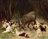 ein hirsch, von hunden angegriffen by carl rudolph huber