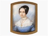 portrait d'une jeune femme en robe bleue clair à grand col de dentelle blanche et coiffée d'un petit chignon by hippolyte joseph lequeutre
