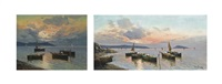 fishermen on the bay of naples at dusk, capri beyond (+ another, smllr; 2 works) by de luca