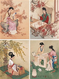 仕女 (4 works) (ladies) by lu hongnian