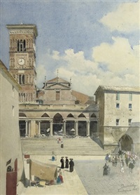 activities on the piazza del duomo, terracina by peter woltze