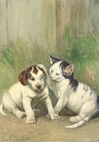 a cat and a puppy making friends by simon ludvig ditlev simonsen