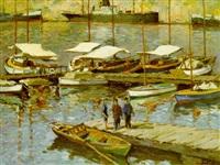 puerto con pescadores by jacint olive font