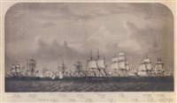 a view of the stone fleet, which sailed from new bedford, nov.16th, 1861 by h.s. & co. hutchinson