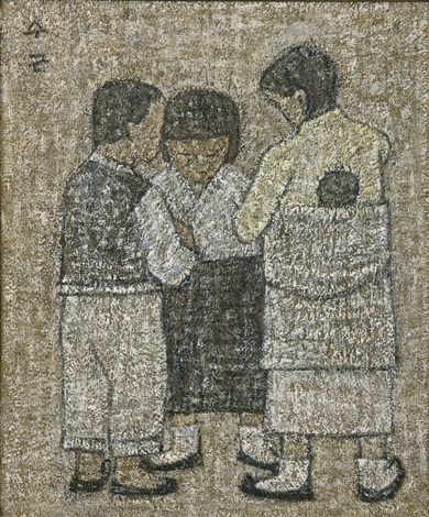 carry a baby on girls back and chidren by park soo keun