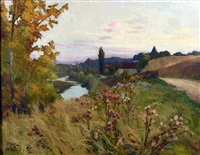 paysage aux chardons en fleur by léon esperance broquet