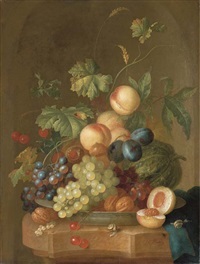 grapes, cherries, plums, peaches, walnuts and a melon in a porcelain bowl on a partly-draped ledge with a halved peach and two snails by johannes christianus roedig