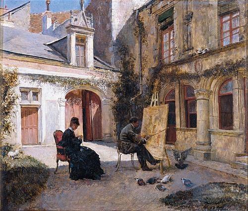 El Patio Del Artista Artist Painting In A Courtyard By Ignacio De - Patio painting