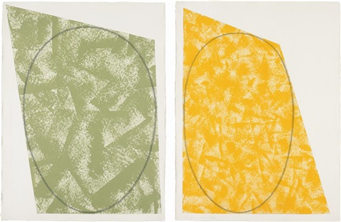 untitled n.6 (green) (+ untitled (yellow-orange); 2 works) by robert mangold