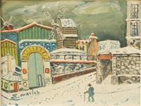 le moulin de la galette sous la neige by elisée maclet