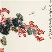 海棠蜻蜓 by qi liangchi