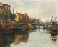 view from the christianshavn canal in copenhagen by johan rohde